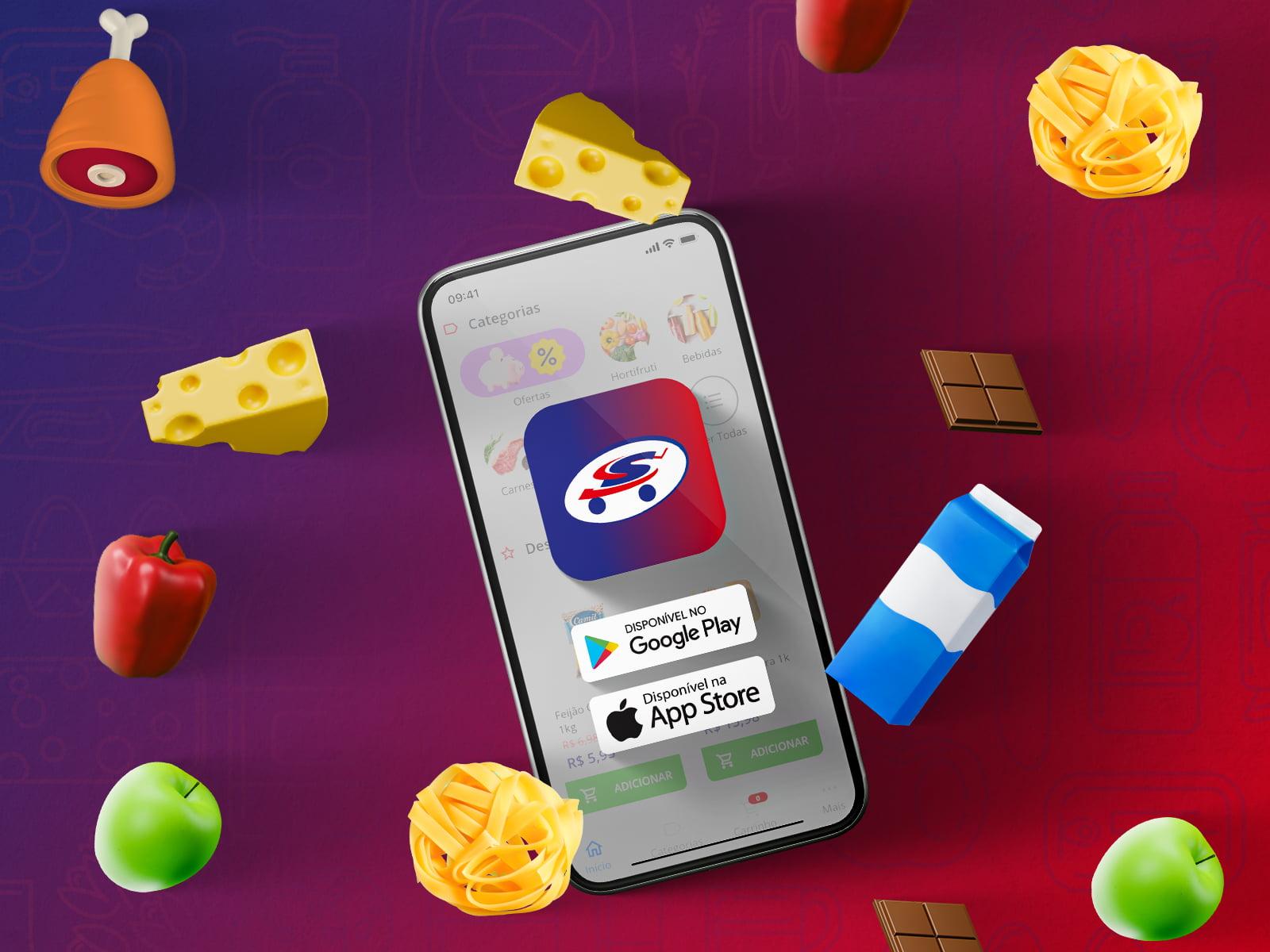 Tela de celular com botões para baixar o app. Ao lado, várias ilustrações de comidas flutuando ao redor do celular.