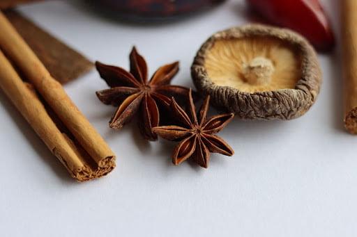 Alguns temperos naturais: cravo, canela e cogumelos desidratados
