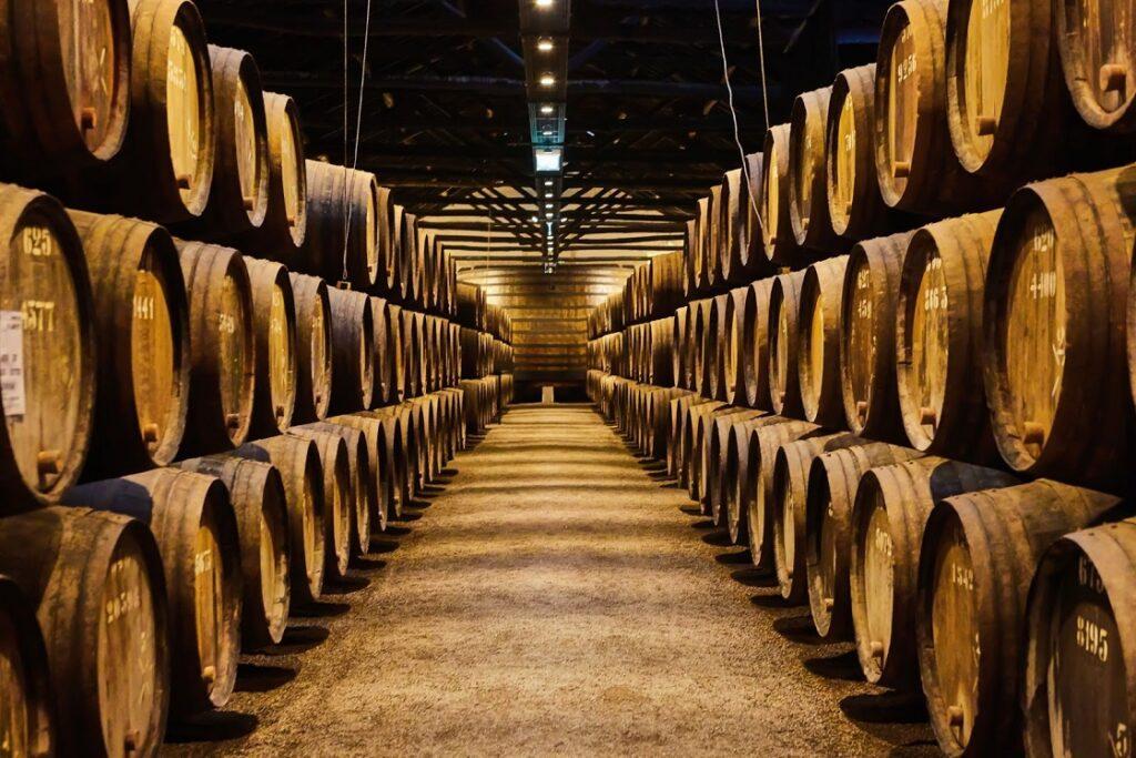 galpão repleto de barris de vinho